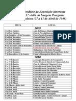 Calendário da Exposição itinerante
