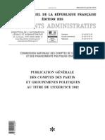 Les comptes des partis et groupements politiques pour l'exercice de 2012