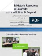 Cultural & Historic Resources in Colorado:2012 Wildfires & Beyond