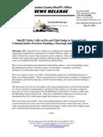 Sheriff Calls on DA Chief Judge to Suspend Soft Criminal Justice Practices