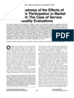 The Robustness of the Effets of Consumers Participation in Market Research