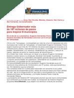 com0401, 171005 Entrega Eugenio Hernández recursos para mejorar 8 municipios del estado.