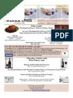 Brick Oven Courtyard Grille October 2009 Restaurant Newsletter