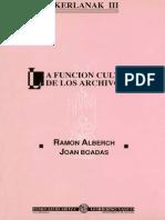 Alberch Ramon - La Funcion Cultural de Los Archivos