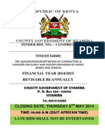 Prequalification of Contractors and Suppliers for Fy 2014 - 2015 ( Tender Numbers 14 to 84)