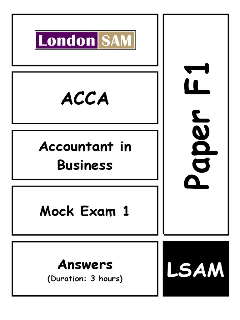 50854453 Acca f1 Mock1 Answers | Audit | Taxes