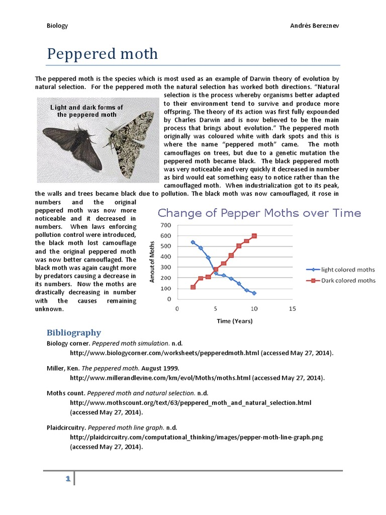 Peppered Moth Simulation Earth Life Sciences – Peppered Moth Worksheet