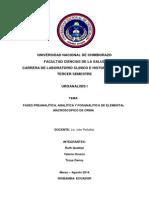 Fase Preanalítica, Analitica y Posanalitica