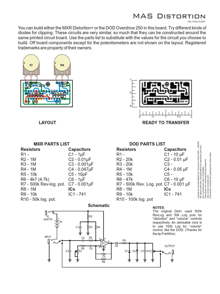 Distortion Plus Mxr Pedal Diy Circuit Board Components List