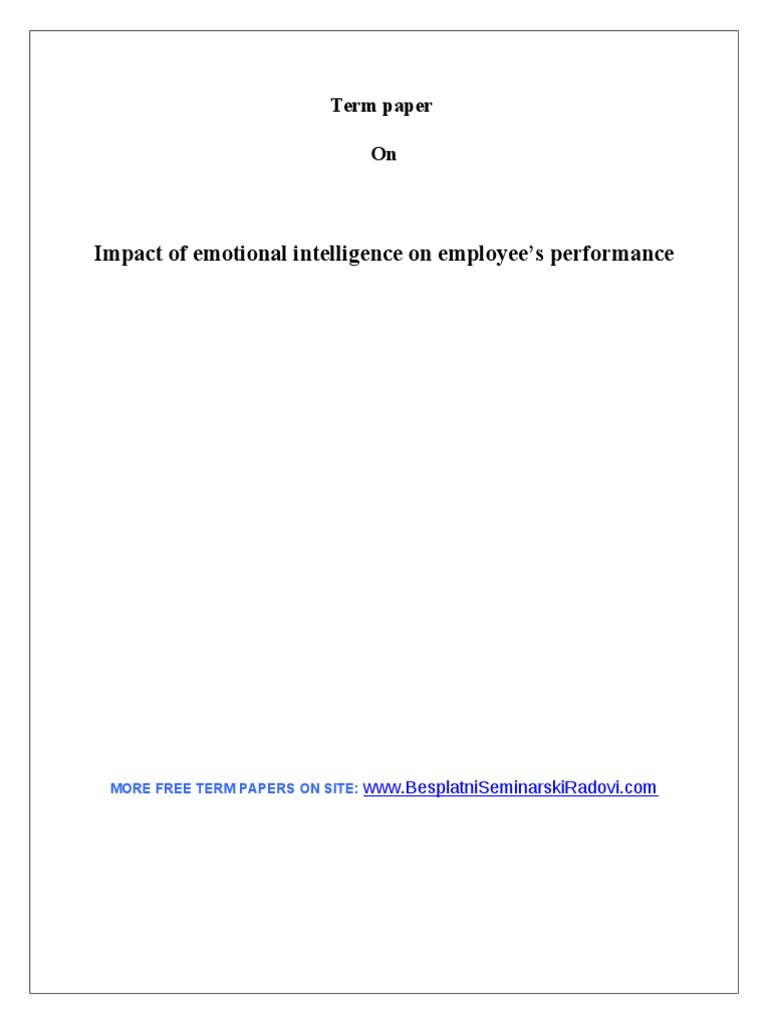 emotional intelligence term paper