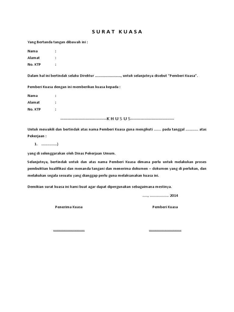Contoh Surat Kuasa Umum Pdf Xilusrooms