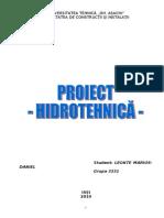 Proiect Hidrotehnica Alimentare Cu Apa