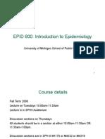 Epid 600 Class 1 Intro to Epidemiology