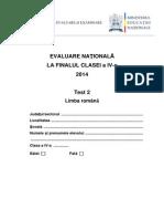 Subiecte Limba Romana_Test_2 Evaluarea Nationala Clasa a IV-A