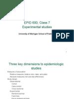 Epid 600 Class 7 Experimental Studies