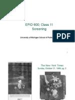 Epid 600 Class 11 Screening