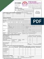 Mewar University Common Admission Form