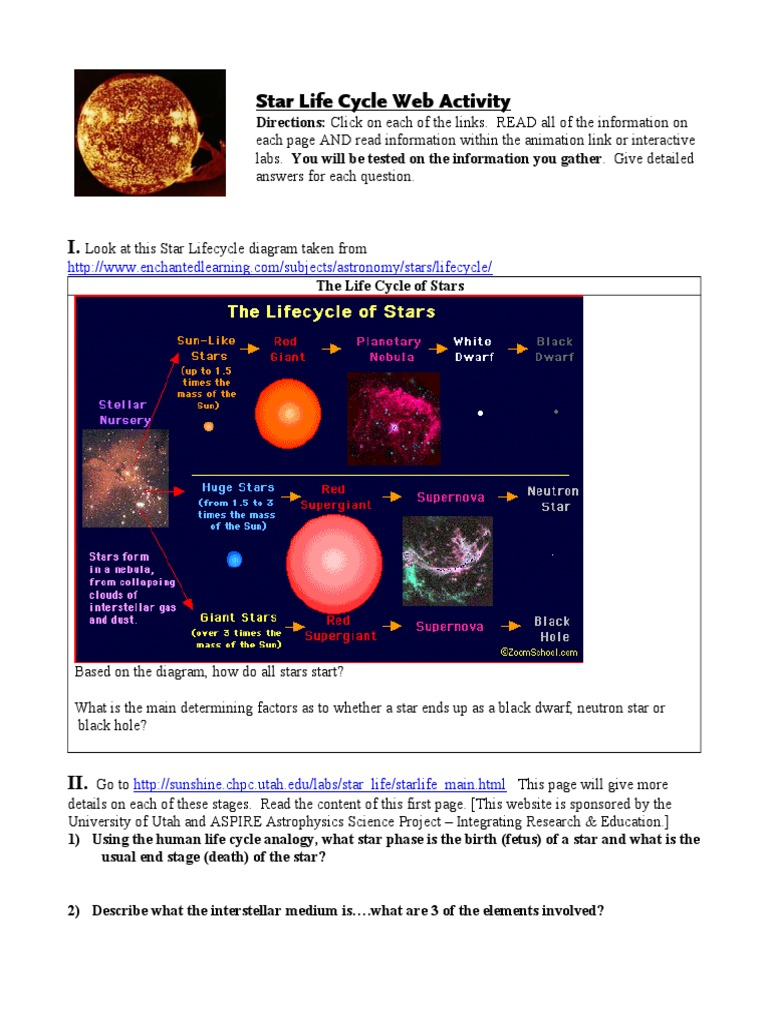 Uncategorized Life Cycle Of Stars Worksheet star life cycle web activity v2 stars nuclear fusion