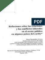 Reflexiones Sobre Las Relaciones y Los Conflictos Laborales en El Sector Publico en Algunos Paises Del Caribe
