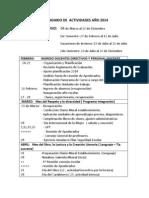 Calendario de Actividades Año 2014 Cabo Alto
