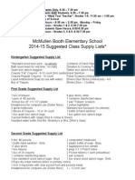 2014-2015 Supply List