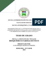 Actividad Insecticida en Saponina de Quinua