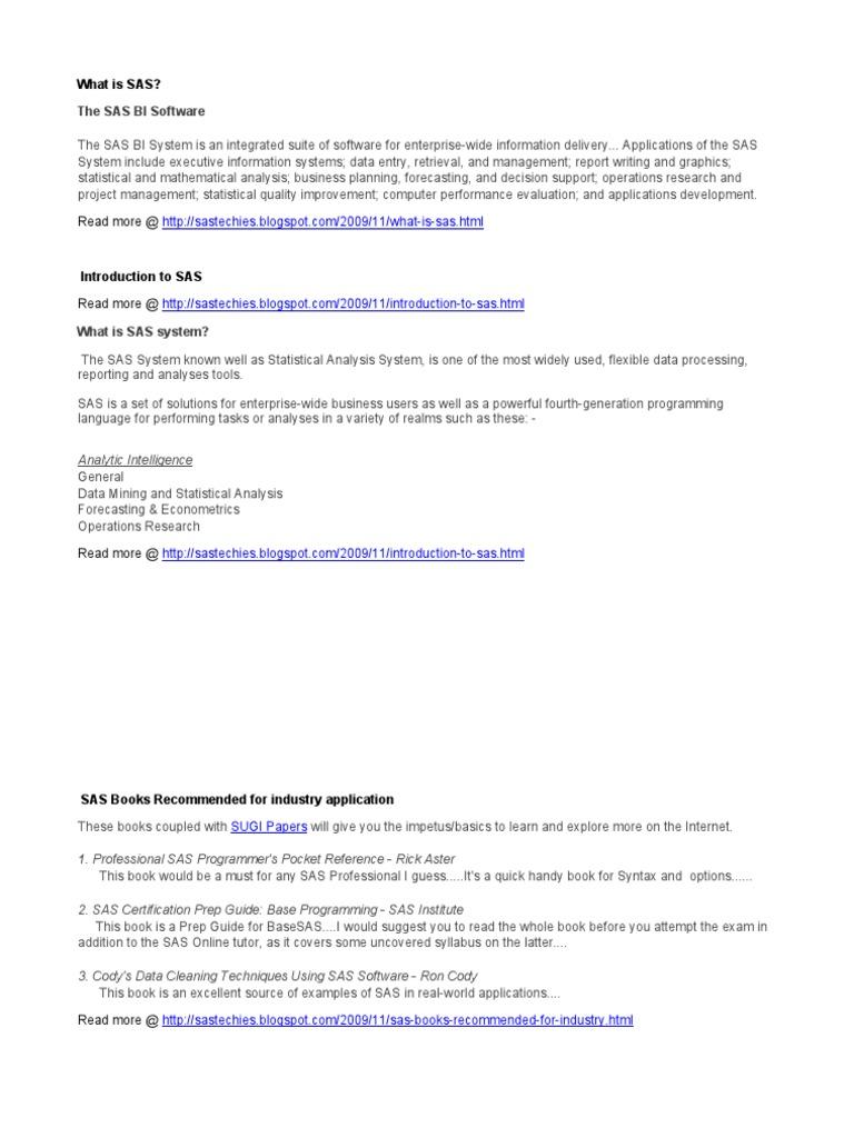 Learn SAS Programming | Sas (Software) | Computer Data