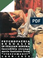 Piselli Stefano Morrocchi Riccardo Eds Psychopathia Sexualis in Italian Sinema 1968-1972