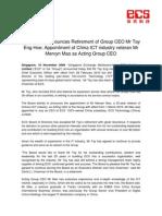 ECSH Retirement of Group CEO 161109