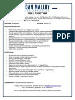 Field Assistant Job Description