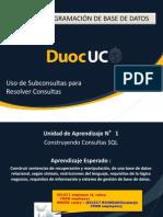 Unidad 1 N°4 Uso de Subconsultas para Resolver Consultas