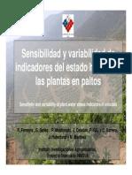 Sensibilidad y variabilidad de indicadores del estado hídrico de las plantas en paltos