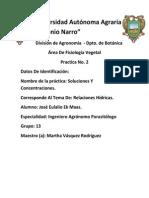 Fisiologia Vegetal Practica No.2 Soluciones y Concentraciones