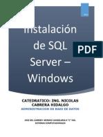 Instalacion de SQL Server