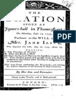 1733 ILIVE the Oration Spoke at Joyners-hall in Thamesstreet