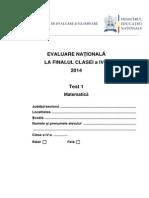 Evaluare Naţională clasa a IV-a Matematica Test 1