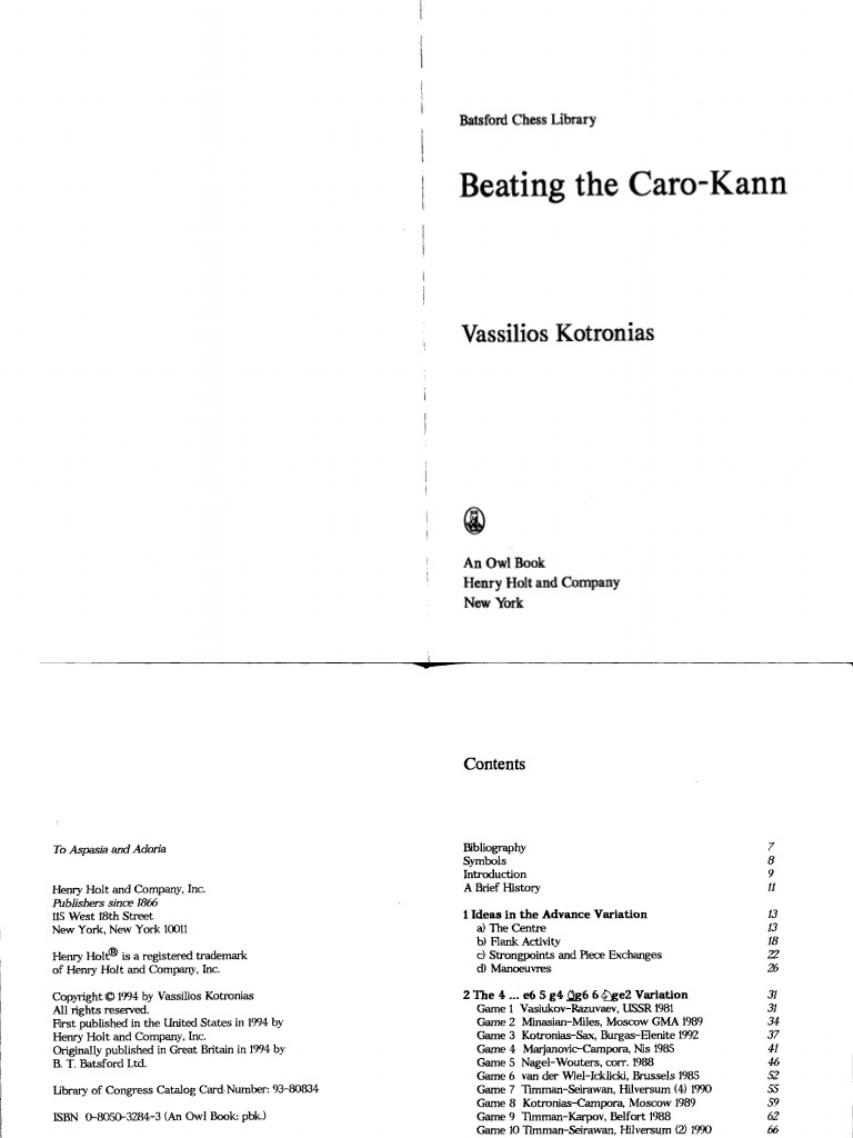 Beating The Caro Kann By Vassilios Kotroniaspdf  Chess Theory   Traditional Board Games