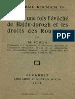 L'Eveche Du Hajdu-dorogh Et Les Droits Des Roumains - Iorga
