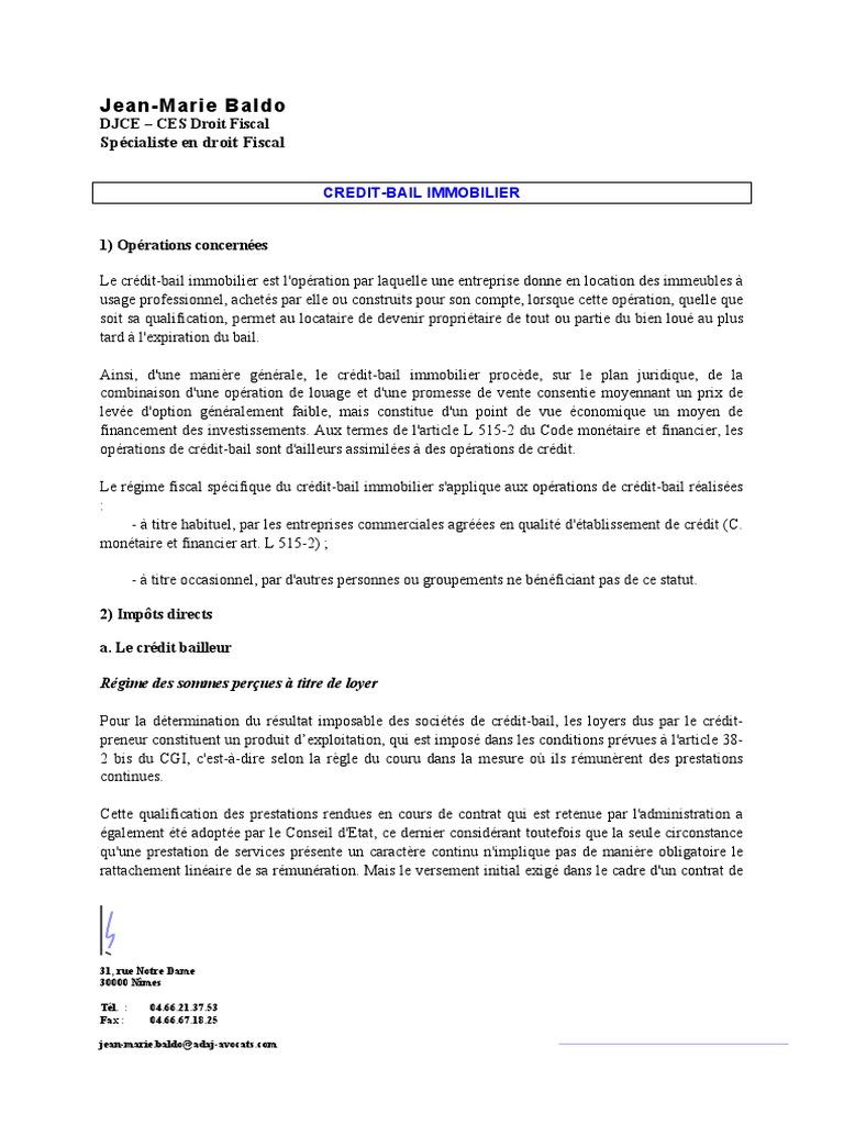 Fiche Credit Bail Immobilier