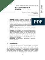Eclesiologia Eucarístia Segundo Ratziger