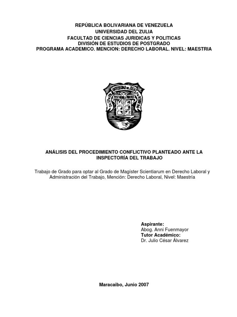 Analisis Del Procedimiento de Conflicto Ante Inspectoria Del Trabajo