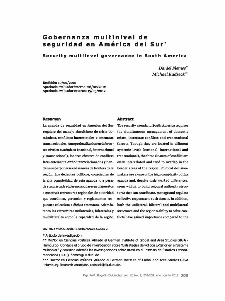 Flemes y Radsek - Gobernanza multinivel de seguridad en America del ...