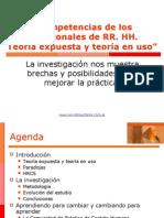 Competencias de los profesionales de RR. HH. Teoría expuesta vs. Teoría en uso.