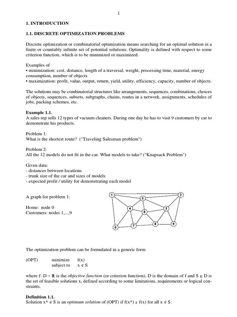 DISCRETE OPTIMIZATION PROBLEMS | Vertex (Graph Theory