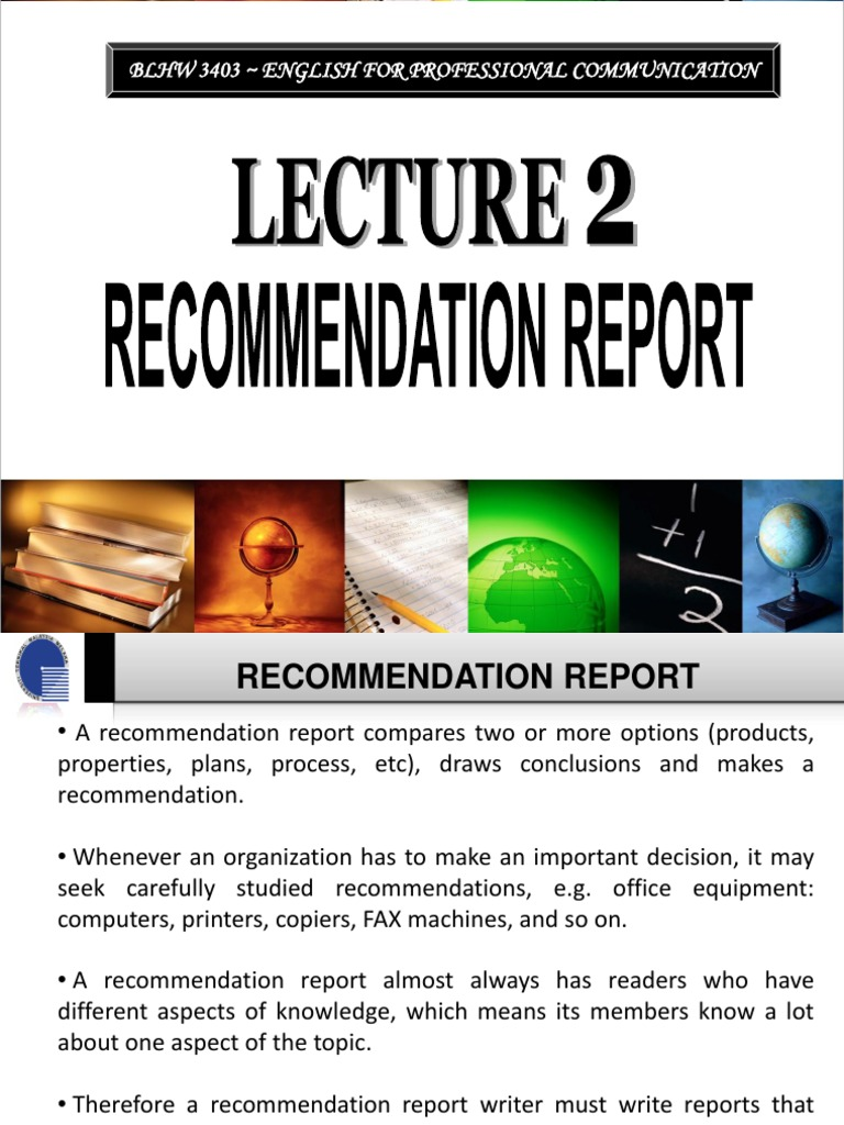 how to write recommendation in report