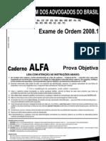 Exame OAB 2008-1 Prova Objetiva - Caderno Alfa