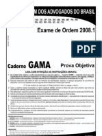 Exame OAB 2008-1 Prova Objetiva - Caderno Gama