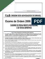 Exame OAB 2008-1 Prova Prático Profissional - Direito Penal e Direito Processual Penal