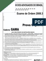 Exame OAB 2008-3 Prova Objetiva - Caderno Gama