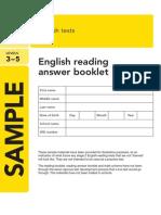 2014 Ks2 Sample Reading Answer Booklet